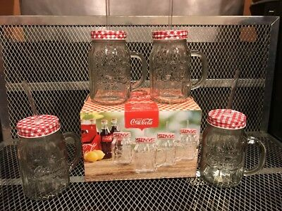 COCA COLA COKE ~ NEW In BOX ~ Set of 4 ~ Mason Jar Glass Mug Mugs w Lid & Straws