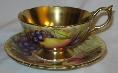 Vintage Gorgeous English Aynsley Orchard Design Peony Shape Signed Cup & Saucer
