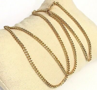 18k Solid Yellow Gold Italian Flat Curb/ Link Chain Necklace, 24Inches. 4.85Gr