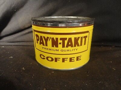 Vintage  1 Lb Pay'n'takit Key Wind Coffee Tin Can Correct Lid Vancouver Wash