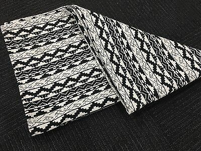 Jacquard Aztec Woven Weave Throw Rug Blanket - Black/White & FREE FREIGHT