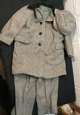 Vintage Child's Brown Wool Herringbone Tweed Snowsuit Jacket Pants Hat