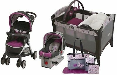 Graco Baby Stroller Car Seat Nursery Playard Travel Diaper Bag System Set