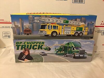 BP Toy Truck Collectors Edition Aerial Tower Fire Truck & Chopper Truck Lot