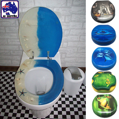 6 Patterns Bathroom Toilet Seat And Cover Lid MDF Bath Seat Metal Hinge HTOI985