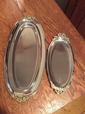 Two Lovely Stainless Steel Serving Platters With Gold Toned Ornate Handles