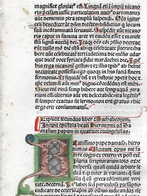 RARE Leaf 1483 Incunabula Latin Bible with Ornate MULTI-COLORED Initials
