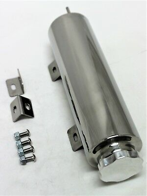 Radiator Over Flow Tank 10X3 Inches Polished + Brackets & Fitting  Hot Rod Ots