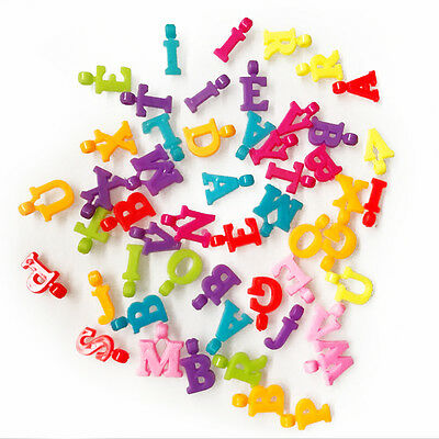 100PCS Mixed Color Kids Plastic Assorted Alphabet Letter Charms Bead Findings