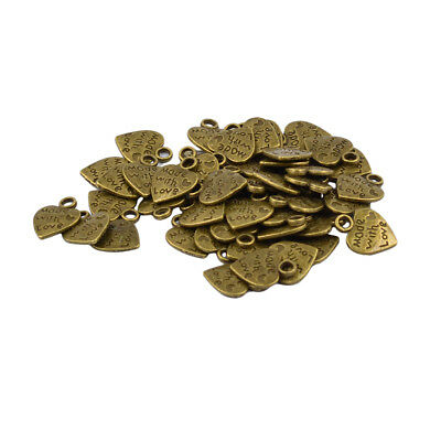 50Pcs Antique Bronze Heart Pendant Charm Findings for Jewelry Making Crafts