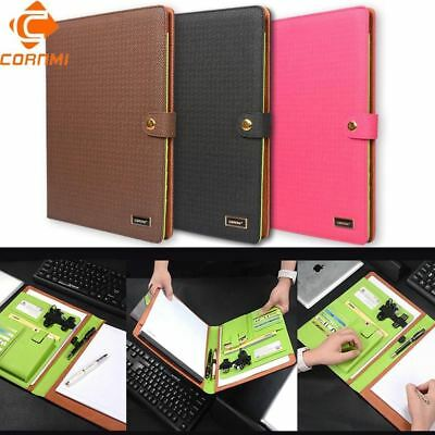 Multifunction File Fold Leather Work Notebook Folder Letter Pen Phone Organizer