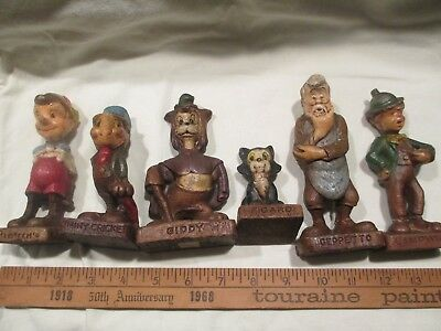 1940s Walt Disney Productions PINOCCHIO Syroco Painted Wood Figurines 6 Cricket
