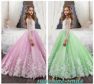 Stock Long Sleeve Girls Lace Dress Kid Princess Birthday Pageant Ball Party Gown