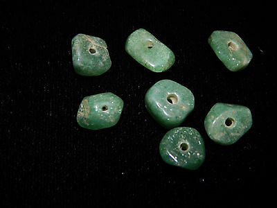 Pre-Columbian Green Jade Beads, Set of 7, Translucent Jade Beads, Authentic