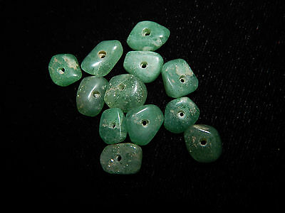 Authentic Pre-Columbian Green Jade Beads, Set of 12, Translucent Disc Beads