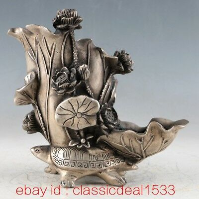 Chinese Silver Copper Handwork Lotus Brush Wash Old Asian Art / XuanDe Mark