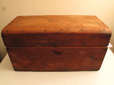 """Antique Aafa Primitive Wooden Small Trunk Blanket Box 19Th C Possibly 18Th 27""""l"""