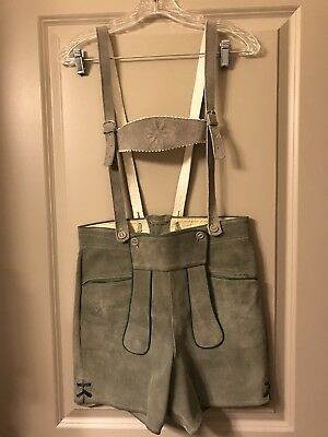 Vintage Mens German Lederhosen Grey w/ Hunter Green Trim Euro 38 Suede-Leather !