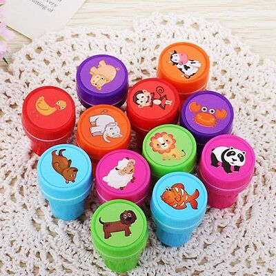 12Pcs/Set Stamps Kids Children Toy Animals Fruit Learning Recognition Training