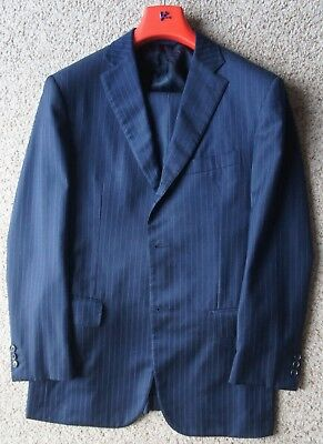Luxury Isaia Napoli Navy Blue 1/4 Lined Side Vent 110's Wool Suit Eu 50 US 40 R