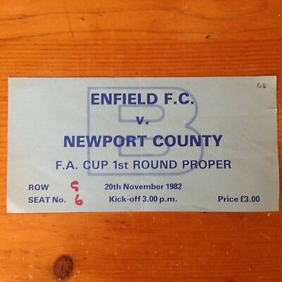 Enfield V Newport County Match Ticket Fa Cup 82/83