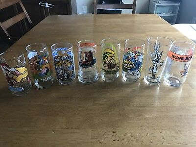 Vintage Collector Glasses Charlie Brown Smurfs Ronald Mcdonald - Lot Of 8