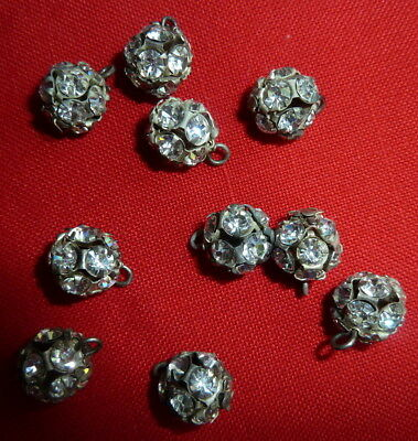 Lot of 10 Matching Vintage Rhinestone Buttons Metal Shank Dress Formal Wear Sew