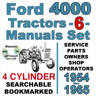6 manuals ford 3000 3 cylinder tractors service parts owners manual ford 4000 4 cylinder tractor service parts owners manual 6 manuals 1954 65 fandeluxe