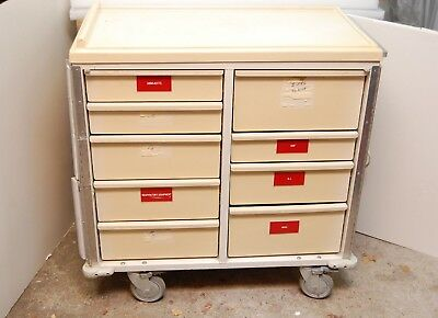 "Crash cart medical supply cart Thymer Industries 9 drawers 35""w excellent"