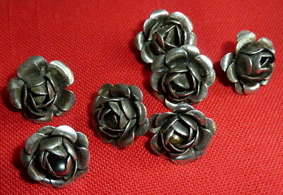 Lot of 8 Matching Vintage Buttons Silver Tone Rose Petal Pattern Shank Back