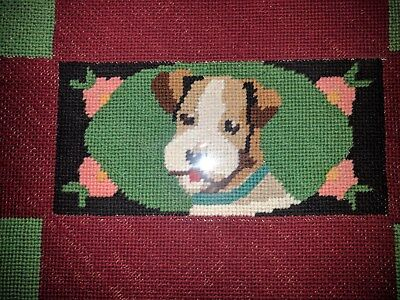 BIG Antique Needlepoint Dog Terrier in splendid frame, cuddly! (JACK Russell?)