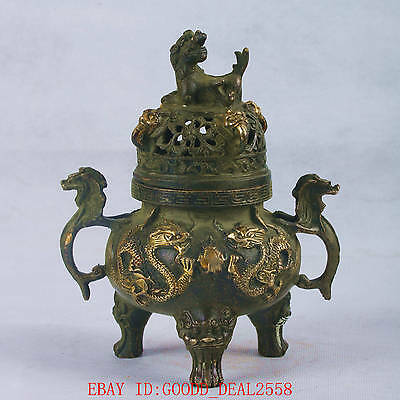 Chinese Bronze Handwork Carved Incense Burner W QianLong Mark QT054