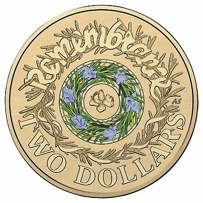 NEW 2017 UNC Remembrance day $2 two dollar coloured coin x1