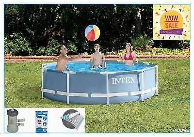 "Intex 10'x30"" Prism Frame Round Above Ground Swimming Pool System Pump Hose Set"