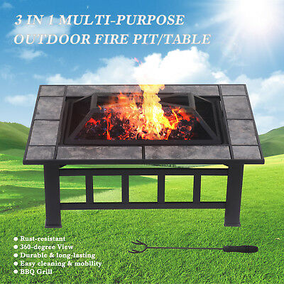 "32"" Outdoor Square Metal Fire Pit Heater Backyard Patio Deck Fireplace w/Cover"
