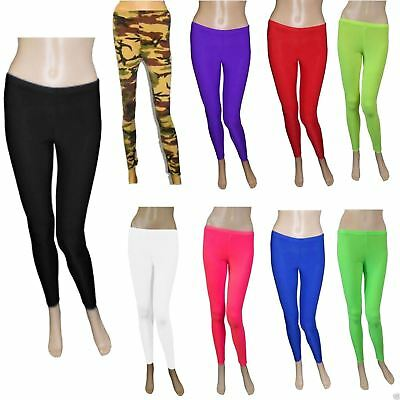 New Childrens Footless Lycra Stretchy Neon Leggings Girls Fancy Dance Wear Pants