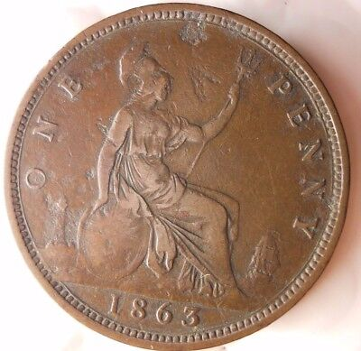 1863 GREAT BRITAIN PENNY - Excellent Collectible - FREE SHIP - Britain Bin #D