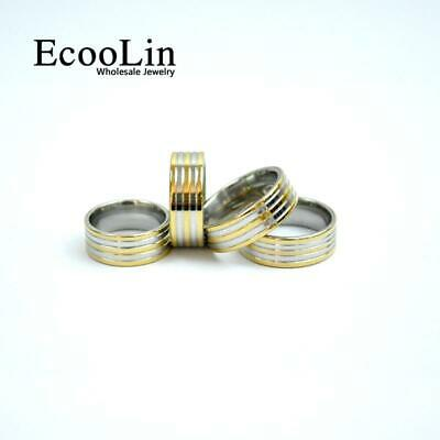 6pcs Gold Stainless Steel Rings Classic Design New Jewelry Wholesale Fashion