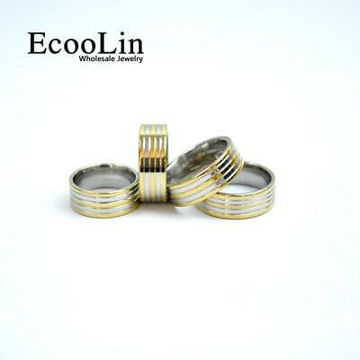 50pcs Gold Stainless Steel Rings Classic Design New Jewelry Wholesale Fashion