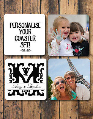 Personalised Coasters Set of 4 Hardboard Glossy Your Photos Your Design
