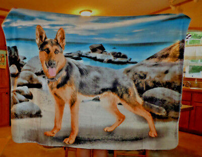 "German Shepherd Dog Scene Fleece Blanket Throw 50"" X 60"" New"