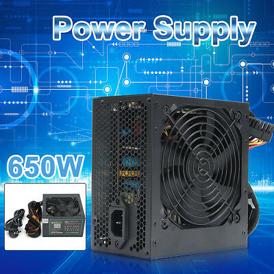 650W PSU ATX 12V Gaming PC Power Supply 24Pin/Molex/Sata 650 Walt 12CM Fan AU