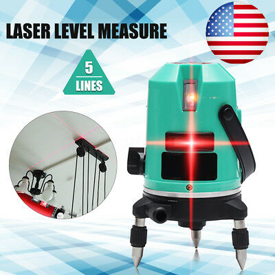 US Automatic 5 Line Laser Level Red Self-Leveling 360° Rotating Cross Measure