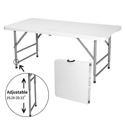 4' Adjustable Height Portable Centerfold Folding Table Outdoor Camp Party Picnic