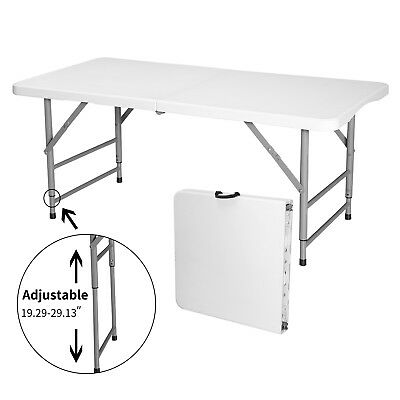 4' Adjustable Height Portable Folding Table Indoor Outdoor Picnic Party Camp