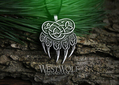 Knotted Bear Paw Pendant - Viking or Celtic Style --- Norse/Berserker/Claw/Steel