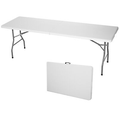 8' Portable Centerfold Folding Table Indoor Outdoor Camp Party Picnic Plastic