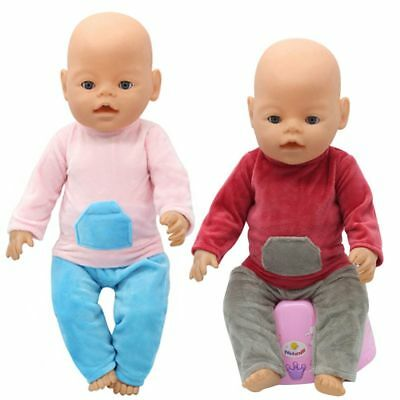 Zapf Baby Born Flannel Pajamas Dress Up 43cm Doll Clothes Shirt Trousers