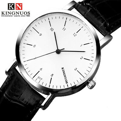 Fashion Simple Mens Watch Casual Minimalism Leather Strap Quartz Male WristWatch