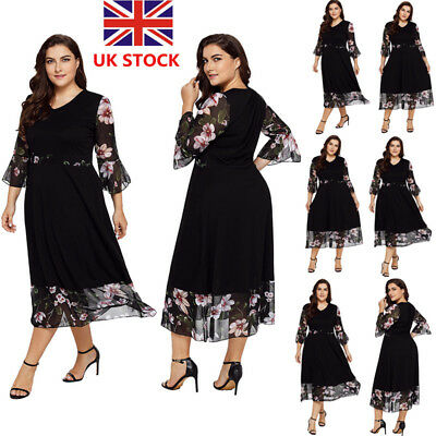 Plus Size Women Floral Flared Long Sleeve Dress Evening Party Cocktail Dress
